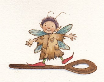 Clever Spoon Walker Fairy -- original watercolor painting