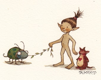 Original Watercolor: Fairy Taking Bug for a Walk