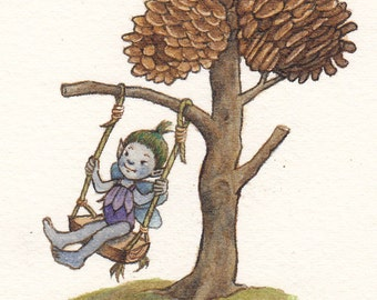 Archival Print: Fairy on a Pine Cone Swing