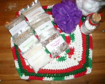 Pagan Wiccan ritual herb bath salts, with herbs
