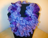 Free US Shipping: Hand Crocheted Ruffled Scarf in Shades of Eggplant and Lavender