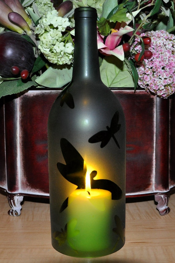 Dragonfly Wine Bottle Hurricane Candle Lamp Unique Wine Gift