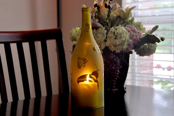 Wine Bottle Frosted Bumblebee Hurricane Candle Lamp
