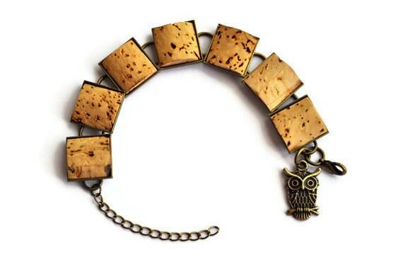 Wine Cork Antique Brass Bracelet with Owl Charm