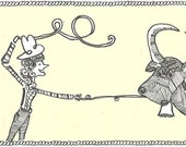 Cowgirl ART card- ink drawing PRINT- WHITE