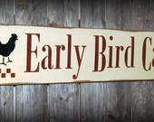 Wooden Sign, Rustic Kitchen Decor, Early Bird Cafe, Rooster Sign, Wood Sign, Gift For Mom, Kitchen Decor, Country Stenciled Signs