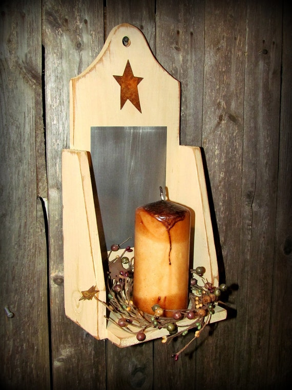Primitive Wooden Candle Holder W Rusty Star Candle By