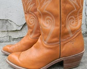 FRYE Mens Mid Calf Tan Leather Western Cowboy Boots Size 11 With Decorative White Stitching