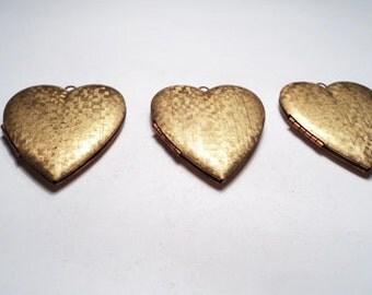 3 - Vintage large textured Heart Lockets - m39
