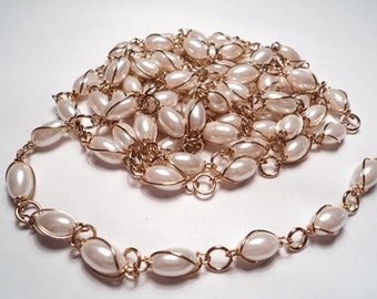 5 ft - Wire wrapped acrylic oval pearl bead link chain - m200