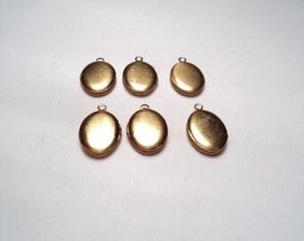 6 pcs - Brass Oval mini Lockets - m207