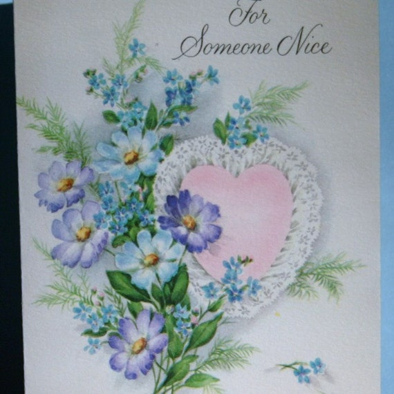 Valentines Day Card Vintage Pink Heart Flowers