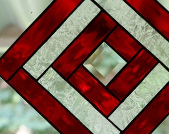 Stained Glass Red Bevel Panel