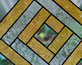 Home Decor Stained Glass Gold Bevel Panel