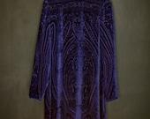 Vintage Purple Velvet Burnout Tunic Dress