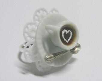 Food Jewelry Morning Coffee Miniature Food Ring - Miniature Food Jewelry,Mini Food Jewellery,Handmade Jewelry