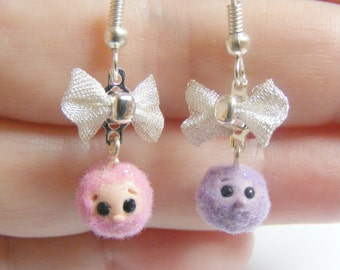 Food Jewelry Pygmy Puff Earrings Miniature Food Jewellery, Mini Food Earrings, Polymer Clay Jewlery, Kawaii Earrings, Pygmy Puff Jewelry