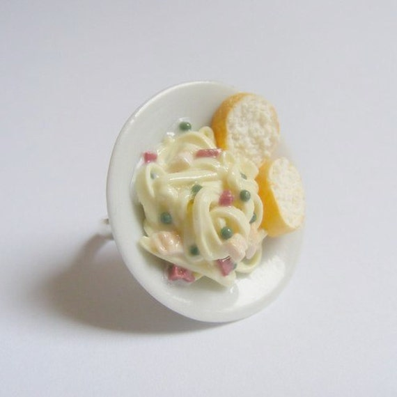 Food Jewelry Pasta Carbonara Miniature Food Ring Scented or Unscented-Miniature Food Jewellery,Handmade Jewelry,Mini Food Jewelry,Pasta