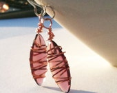 ribbon copper wrapped purple drop earrings - Free Shipping World Wide