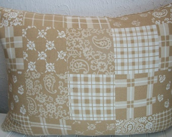 12 x 16 Beige and White Country Lumbar Pillow Cover