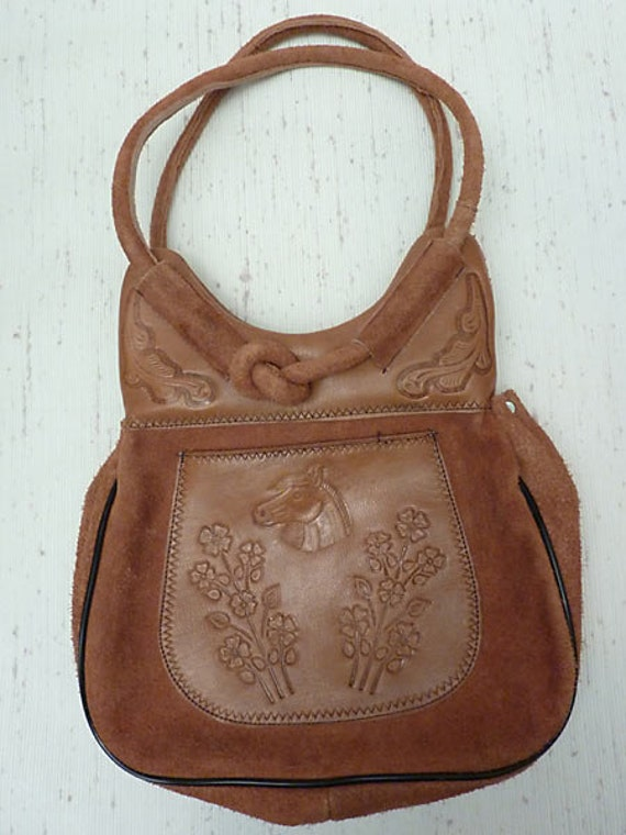 Tooled Leather and Suede Purse, Horse Design