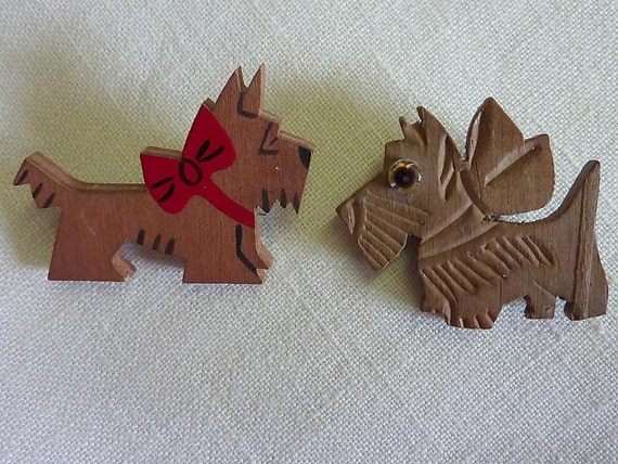 Pair of Vintage 40s or 50s Wooden Scotty Dog Pins