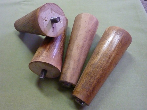 Four Vintage Mid Century Wood Furniture Legs, 1950s or 60s