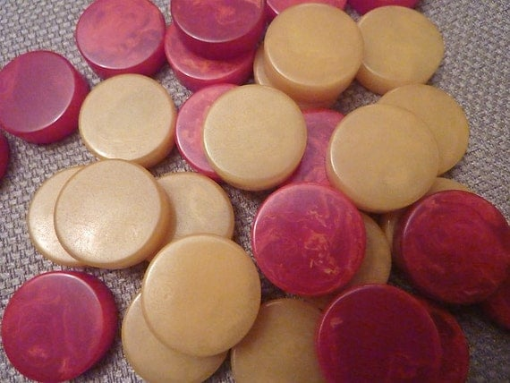 30 Bakelite Vintage Game Pieces, Butterscotch and Red Discs