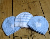 Premature Baby Hat: Blue and white heart knitted beanie for tiny baby