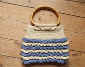 Girls Blue and Beige Crochet Ruffle Tote Bag with Bamboo Handles