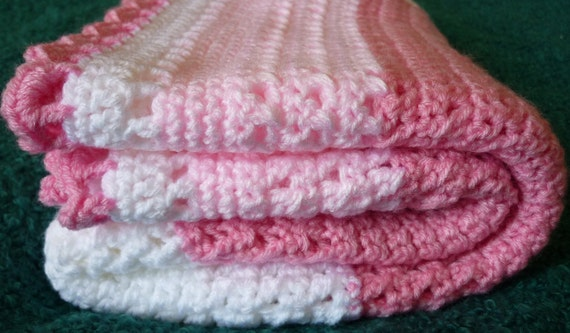 PDF Crochet Pattern: Phoebe's Pink and White Cross Over Baby Blanket, UK instructions with 8 page crochet tutorial