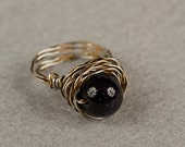 Blue Goldstone Twisted Ring