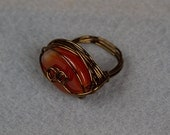 Carnelian Ring wire wrapped in Vintage Bronze