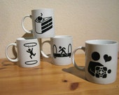 Set of Four Hand Painted Portal Mugs