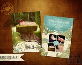 5x7 Vintage Birth Announcement Template, EVE Collection Baby (SCH127)