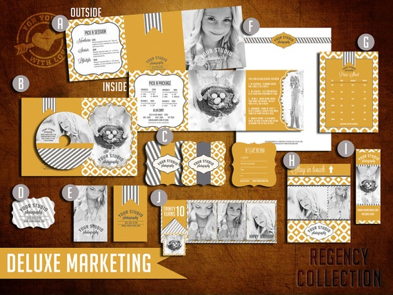 Pre-Made DELUXE Marketing Set Templates for Photographers (Regency Collection)