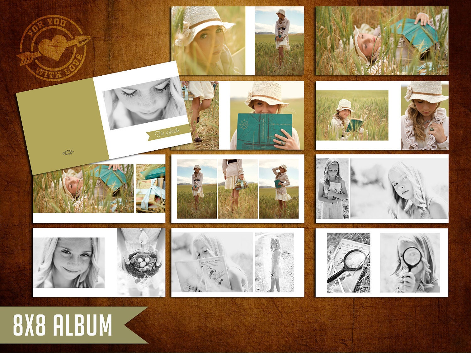 8x8 mod album template for photographers by 4uwlove on etsy. Black Bedroom Furniture Sets. Home Design Ideas