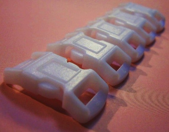 """Plastic Buckle- WHITE-side release 3/8"""" (10)"""