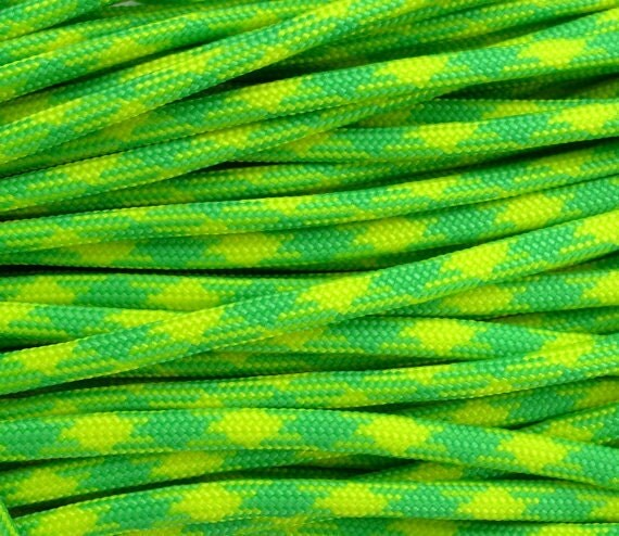 Type III Commercial 550 Paracord - Neon  Lemon & Lime - 10 feet