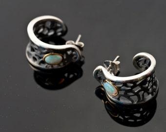 Opal earring hoops - Artisanal Silver Earrings - Black silver earrings - Filigree hoop earrings -  Gift for her