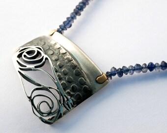Artisan Flower Neckace - Art Nouveau ROSE pendant - Designer Sterling silver Pendant