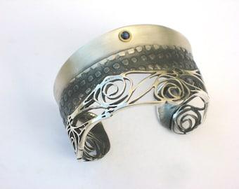 Silver Cuff bracelet - Art Nouveau Bracelet - Rose Bracelet - Sapphire Cuff - Gifts for her