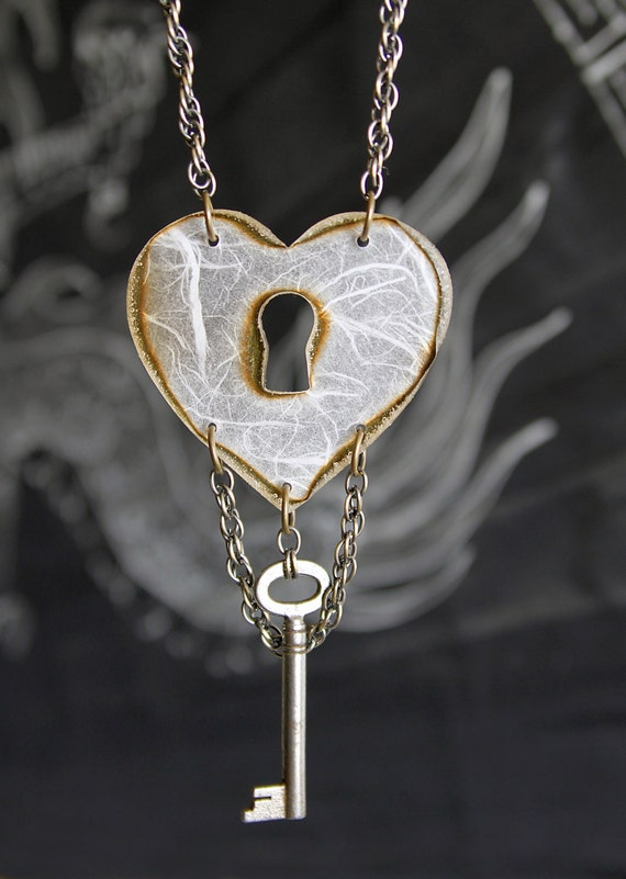 Big Heart Keyhole Statement Necklace - Acrylic Laser Cut, Lace, Chain & Skelton Key
