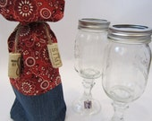 Wine bag - old wrangler jeans with red bandana material top