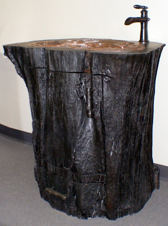 Items Similar To Tree Trunk Vanity W Bronze Oyster Sink
