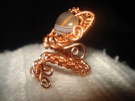"Adjustable wire wrapped copper ring ""Heart"""