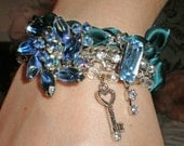 RESERVED for Sandra - Blue Steel, OOAK repurposed vintage bracelet