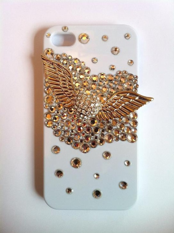Love Angel Wing (1 pc) with Rhinestones (around 1000 pcs) DIY Kit Kawaii Cabochon Bling Bling Cell phone Deco