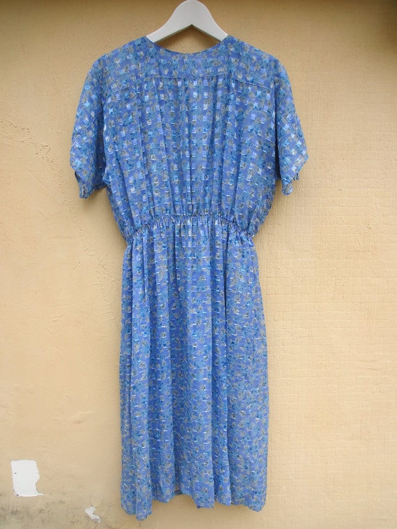 BIG SALE- light blue Printed Vintage Dress- Flower print