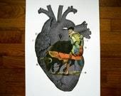 Screenprint, Heart and Matador (Grey)